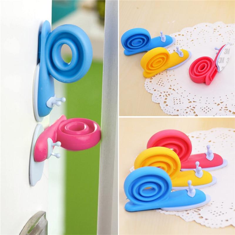 3Pcs/lot Soft Plastic Baby Home Safety Door Stopper Protector Children Safe Snail Shape Door Stops Baby Gate Corner Protector