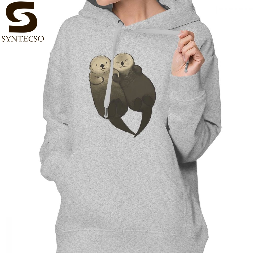 Otter Hoodie Significant Otters Otters Holding Hands Hoodies Kawaii Streetwear Hoodies Women Graphic White Pullover Hoodie