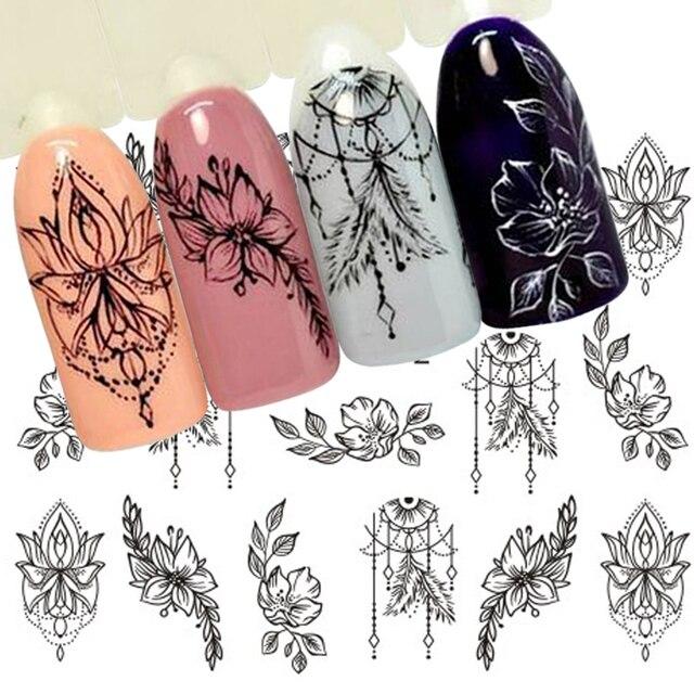 1 blatt Schmuck Blume Wasser Aufkleber Schwarz Aufkleber Für Nagel Muster Malerei Wrap Papier Folie Spitze Tattoo Maniküre SASTZ766-778