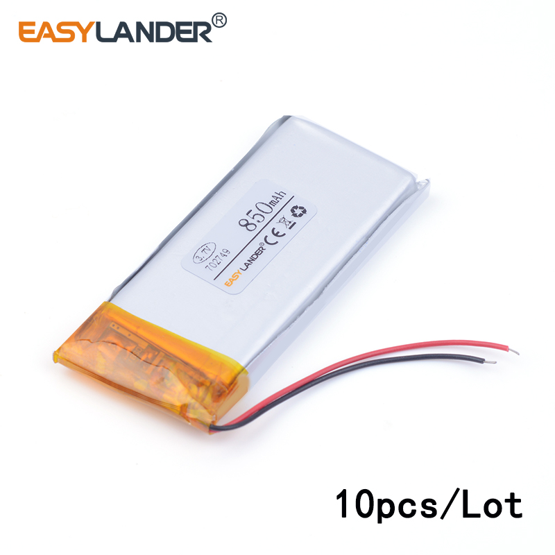 10pcs /Lot 702749 850mah 3.7v lithium Li ion polymer rechargeable battery For Watch PDA toys battery pack medical device