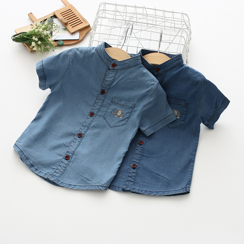 Newborn Kids Baby Girls Denim   Shirt   Short Sleeve   Blouses   Summer Clothes Children Girl boys Denim   Shirts