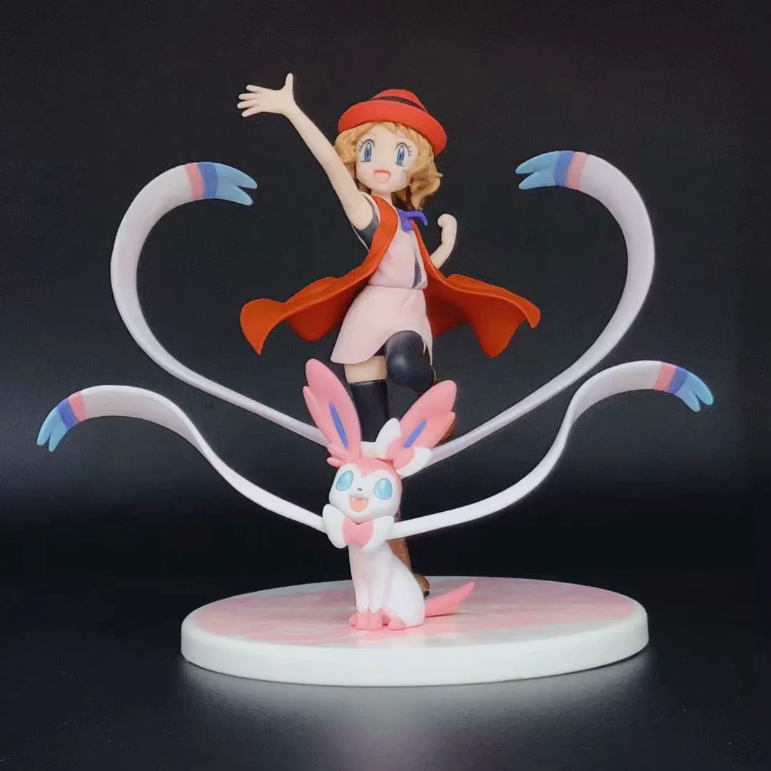 13cm Pokemon Anime Serena Eevee and Sylveon Action Figure Model Toys Lovely Room Decoration pkm Figure Toys Girl Figure
