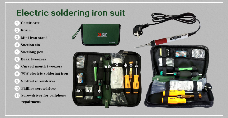 Soldering iron EU Plug 220V 70W Adjustable Temperature Electric Soldering Iron Kit+5pcs Tips Welding Repair Tweezers Hobby knife1