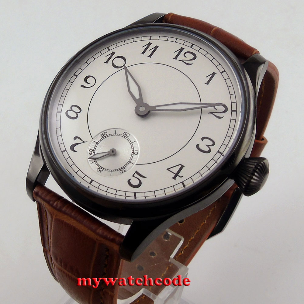 44mm parnis white dial PVD 6498 movement hand winding mens watch P288 40mm parnis white dial vintage automatic movement mens watch p25