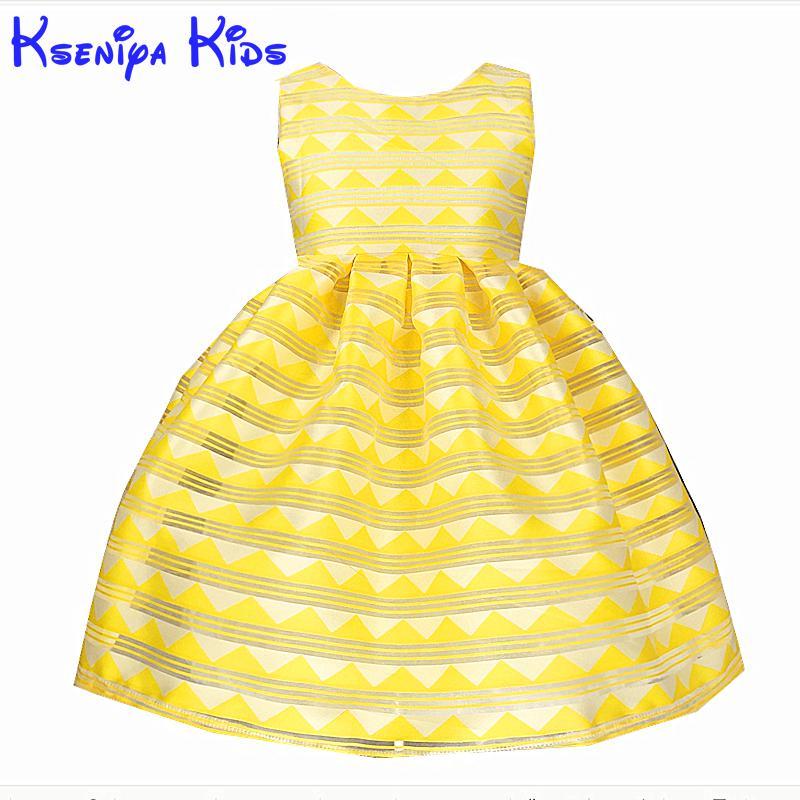 a7c3776d4c Kseniya niños 2017 verano amarillo vestido rayas vestidos de princesa para  las niñas de algodón de la fiesta de cumpleaños de los niños de la boda  vestidos ...