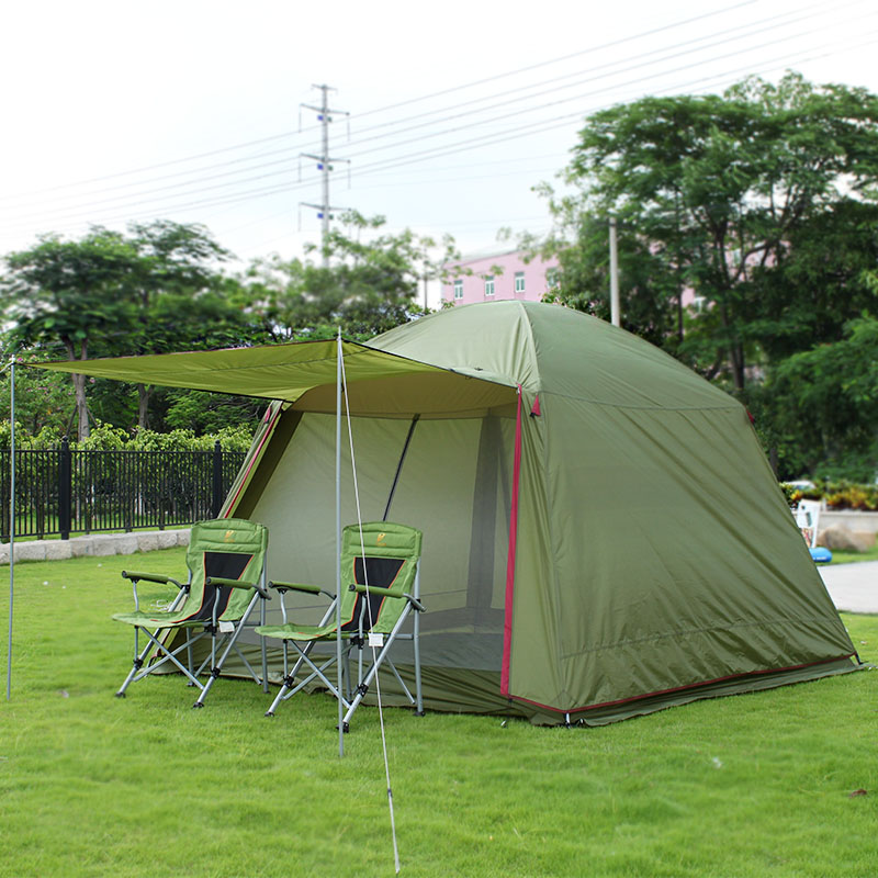 large camping tent outdoor recreation 4-10 person awning canopy tent camping family tourist fishing party tents mosquitoes net