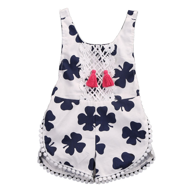 Summer new lovely kid rompers Sweet Infant Kids Baby Girl Cotton sleeveless floral print cute girls Romper Jumpsuit Outfits