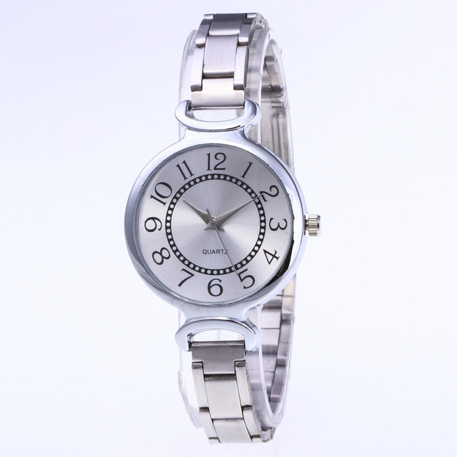 Big Number Dial Watches Women Stainless Steel Band Analog Quartz Round Wrist Watch Fashion montre femme luxury bayan saat saat