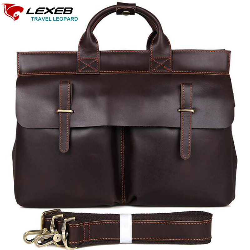 LEXEB Brand Men's Briefcases Solid Genuine Leather Classic Business Bag High Quality Office Bags For 15 Inch Laptop Brown lexeb brand lawyer briefcase vintage crazy horse leather men laptop bag 15 inches high quality office bags 42cm length brown