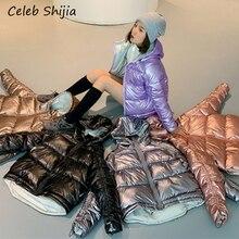 2019 冬のジャケットの女性パープルブリンブリンシルバー韓国時装暖かい綿パーカーフード付き冬コート女性 2xl