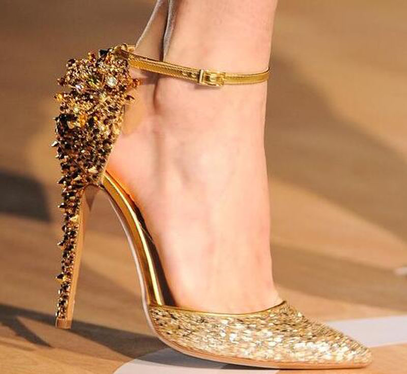 New Design Women Fashion Pointed Toe Sequined Ankle Strap Spike Pumps Back Rivet Rhinestone High Heels Dress Wedding ShoesNew Design Women Fashion Pointed Toe Sequined Ankle Strap Spike Pumps Back Rivet Rhinestone High Heels Dress Wedding Shoes