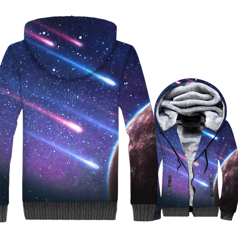 Space Galaxy 3D Print Hoodie Men Colorful Nebula Stars Sweatshirt Harajuku Coat Winter Thick Fleece Warm Dreamlike Meteor Jacket