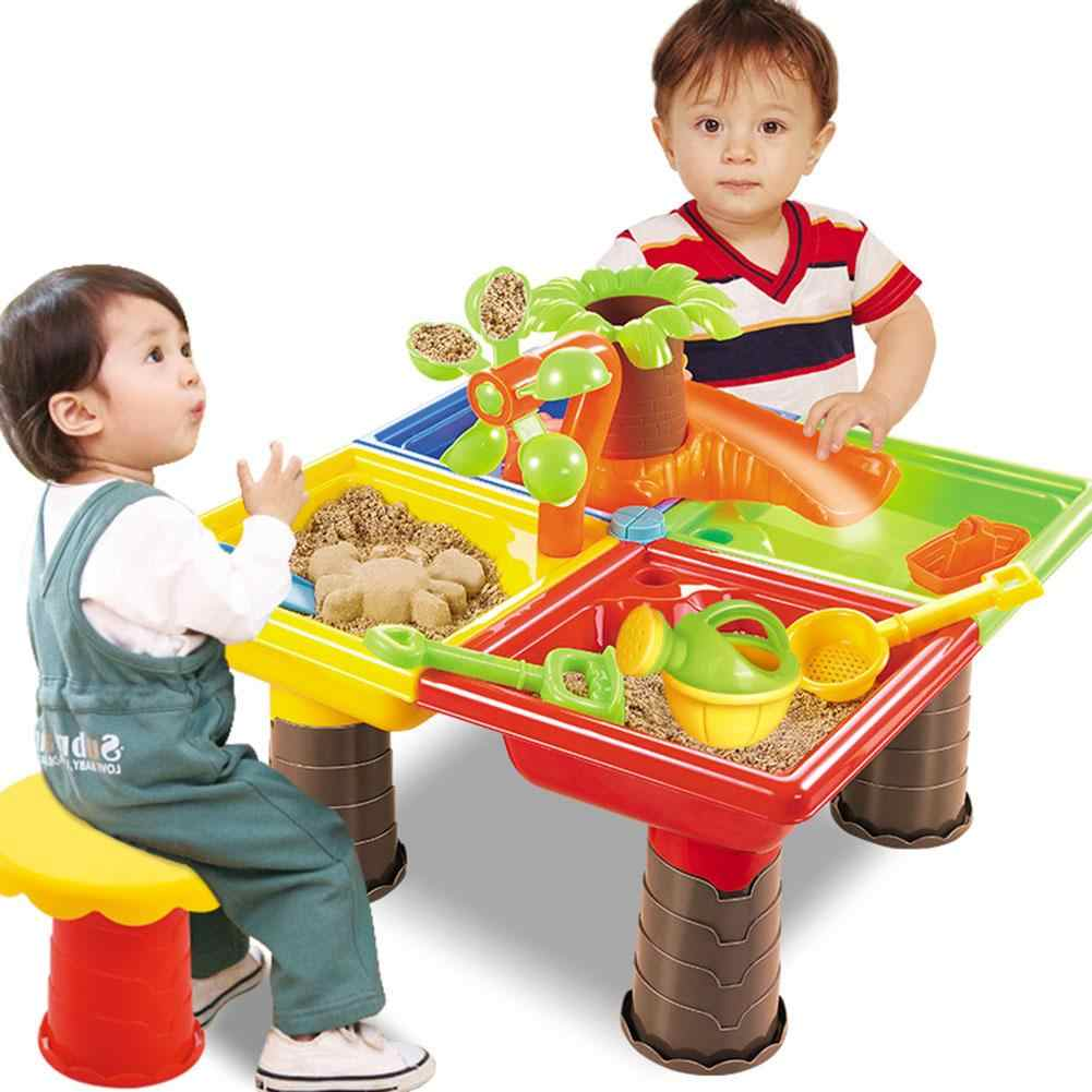 Дети Песок яма набор пляж песочница стол воды открытый сад играть Spade инструмент игрушки играть дома пляжный стол игрушечные лошадки