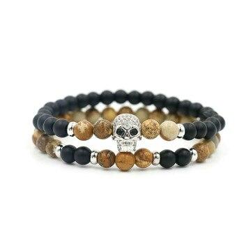 2Pcs/Set 6 mm Beaded Strand Bracelets Skeleton Skull Bracelet For Men Women Jewelry 1