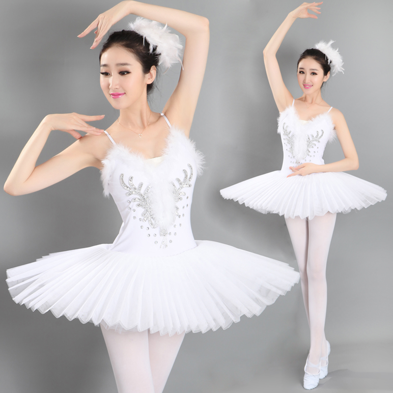 ny Balettklänning Veilkostymer Svartvit Svanadansfjäderklänning