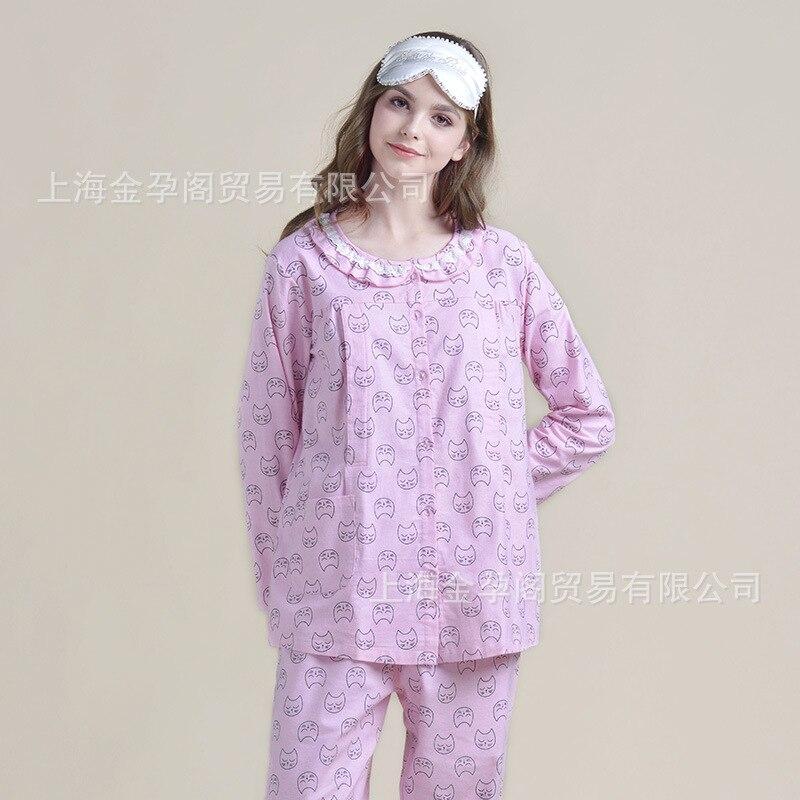 Фото 2018 Cotton Months Spring and Autumn Pregnant Women Breastfeeding Pajamas Long Sleeve Homewear Sets Postpartum Feeding Clothes