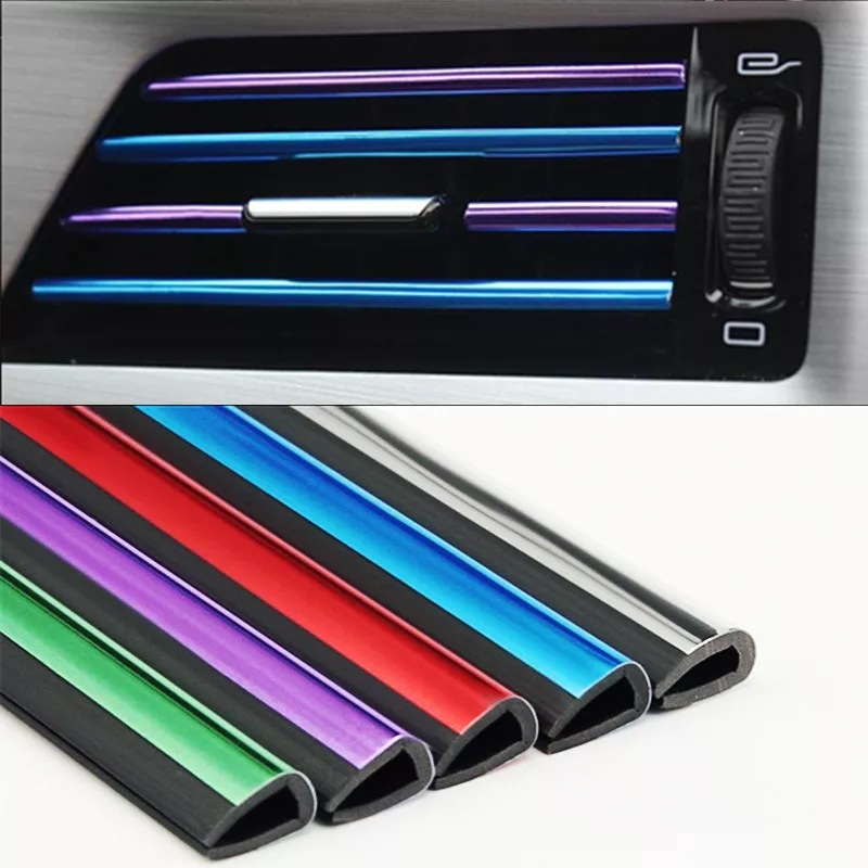 Universa Car Chrome Air Conditioning Outlet Decorative Strips Interior Mouldings U-shaped Style Clip Colorful Strip Car Styling