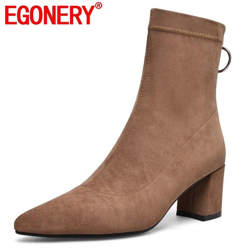 Egonery 중반 송아지 부츠 인기있는 최신 뜨거운 판매 무리 지퍼 높은 발굽 뒤꿈치 지적 발가락 겨울 따뜻한 3 색 여성 신발-에서미드 카프 부츠부터 신발 의  그룹 1
