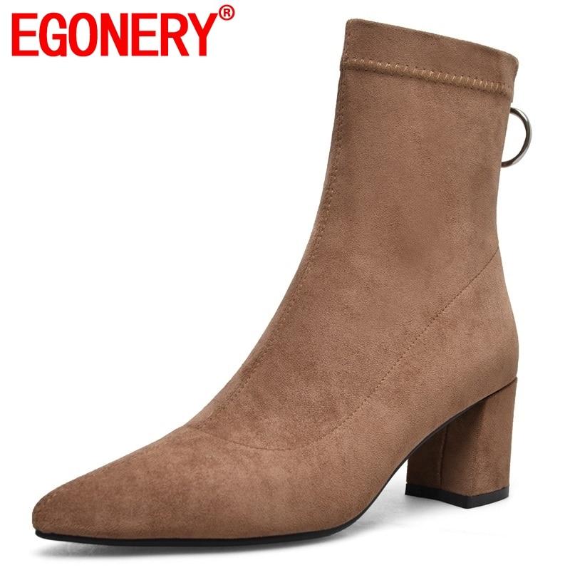 Egonnerie mi mollet bottes populaire nouvelle offre spéciale troupeau zipper haut sabot talons bout pointu hiver chaud trois couleurs femmes chaussures-in Bottines from Chaussures    1