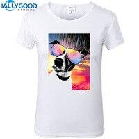 New Fashion Crazy Summer Dog Style T Shirts Funny Sunny Pug White Printing T Shirts Short