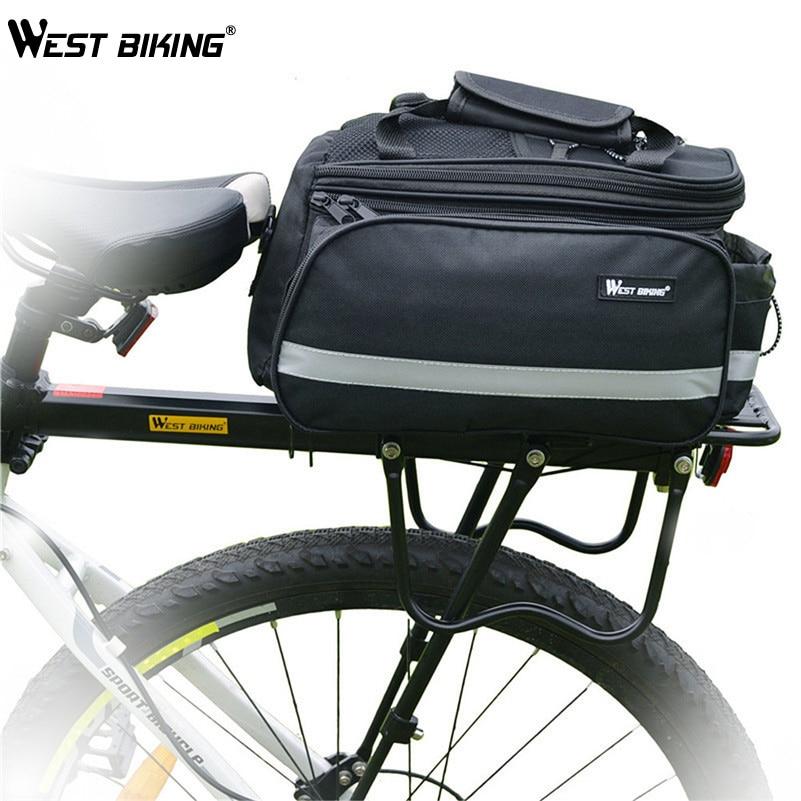 ФОТО WEST BIKING Cycling Bicycle Back Rack+Bag+Raincover Set Cycling DH MTB Luggage Alloy Bike Cycle Cargo Bag, Rear Shelf+Raincover