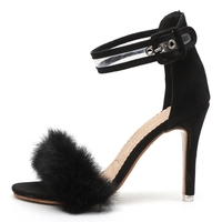 2018 Fashion serpentine print Feather Stiletto High Heels Woman Shoes Sexy ankle strap Sandals Fur Peep Toe Party Dress Shoes