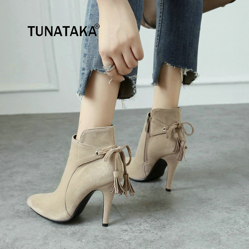 New Fashion Fringe Sweet Bow With Side Zipper Women Ankle Boots Thin High Heel Pointed Toe Winter Shoes Black Khaki china oem firehawk shop guitar hot selling tl electric guitar stained maple tiger stripes maple wood color page 3