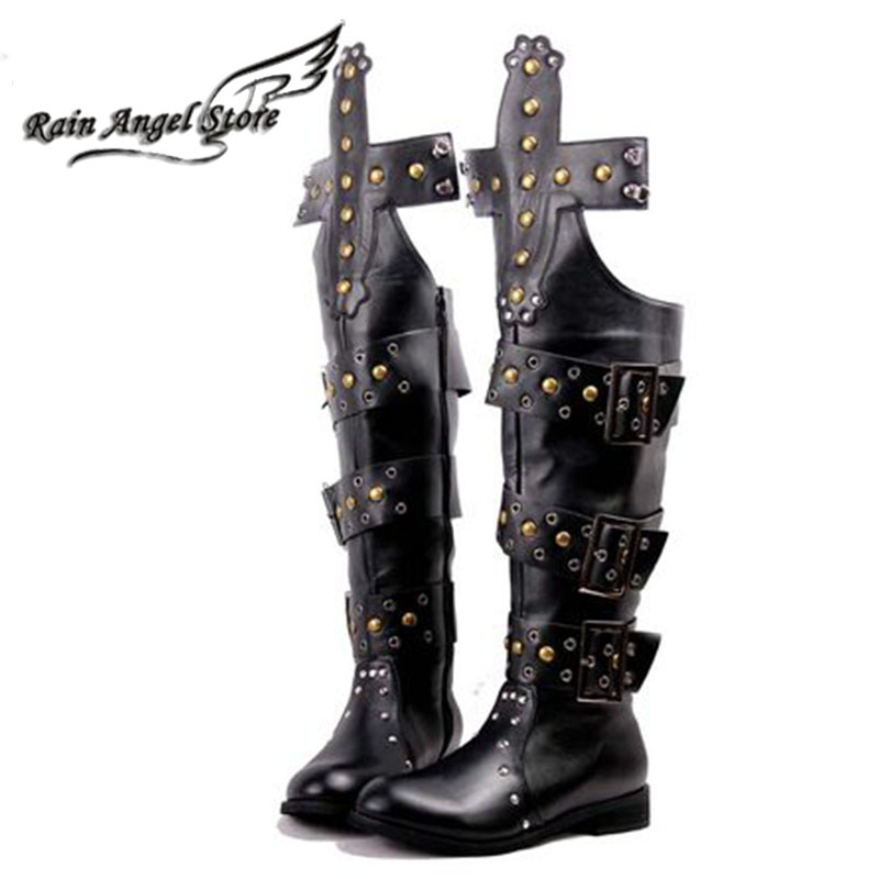Fashion Male Shoes Korean High Boots Rivets Bukle Men Boots Knee High Rock Punk Boots Sapatos Masculinos