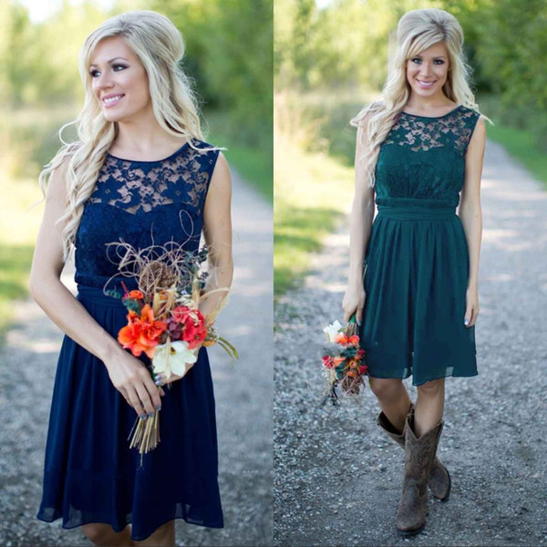 Country Bridesmaid Dresses 2018 Knee Length Short Chiffon Lace Sheer