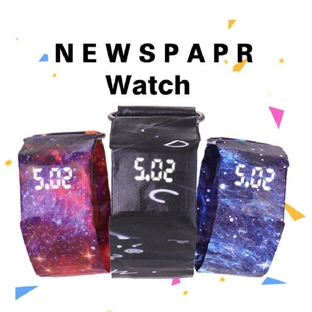 Reloj de pulsera creativo de papel reloj LED impermeable accesorios de reloj Digital de papel Correa relojes deportivos reloj de pulsera
