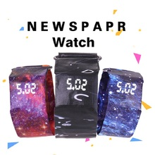 크리 에이 티브 팔찌 종이 시계 led 방수 시계 시계 액세서리 디지털 종이 스트랩 시계 스포츠 시계 손목 시계