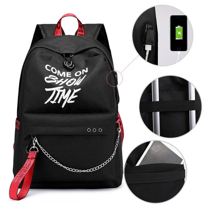 HTB1iESuXzzuK1RjSspeq6ziHVXa5 Winmax Luminous USB Charge Women Backpack Fashion Letters Print School Bag Teenager Girls Ribbons Backpack Mochila Sac A Dos