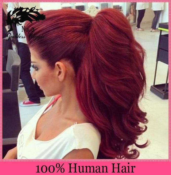 Human Hair Glueless Full Lace Wigs Brazilian Dark Root Red