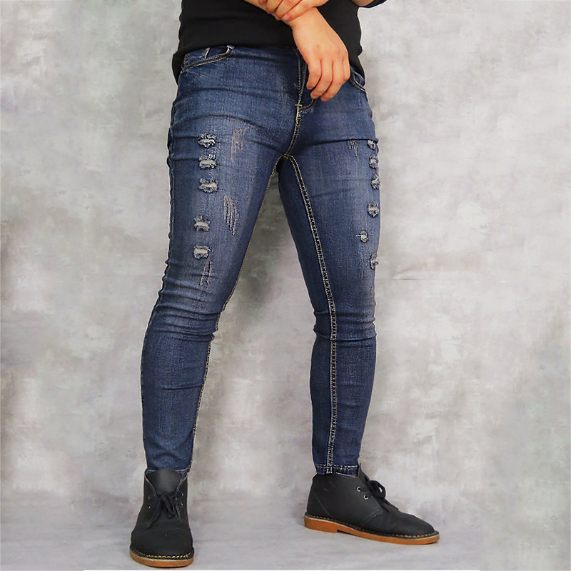 GUMPRUN men's jeans retro hole street dress jeans men stretch straight hip hop stitching skinny jeans fashion casual wild jeans