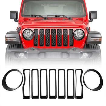 NEW 9PCS Front Grill Inserts + Headlamp Verlays Kit For 2018 Jeep Wrangler JL Rubicon Accessorie