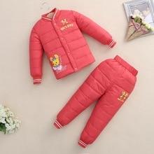 Новая осень и зима маленьких детей пуховик костюм для мальчиков и девочек теплый под вниз пальто + брюки набор