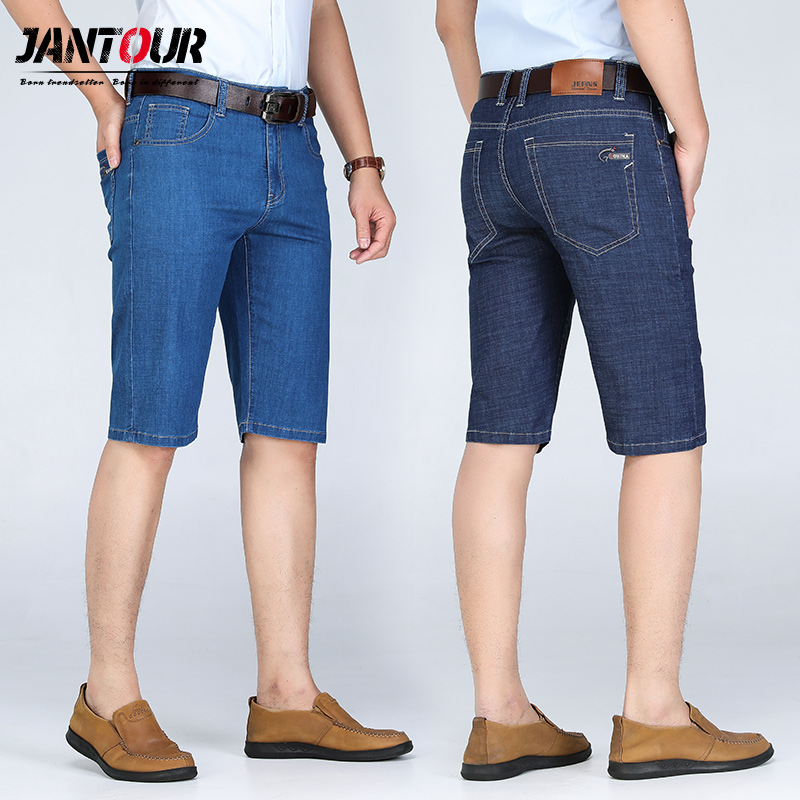 2019 new summer fashion new men's cotton casual stretch cowboy denim shorts Men's Straight short   jeans   male Large size 28-44 46