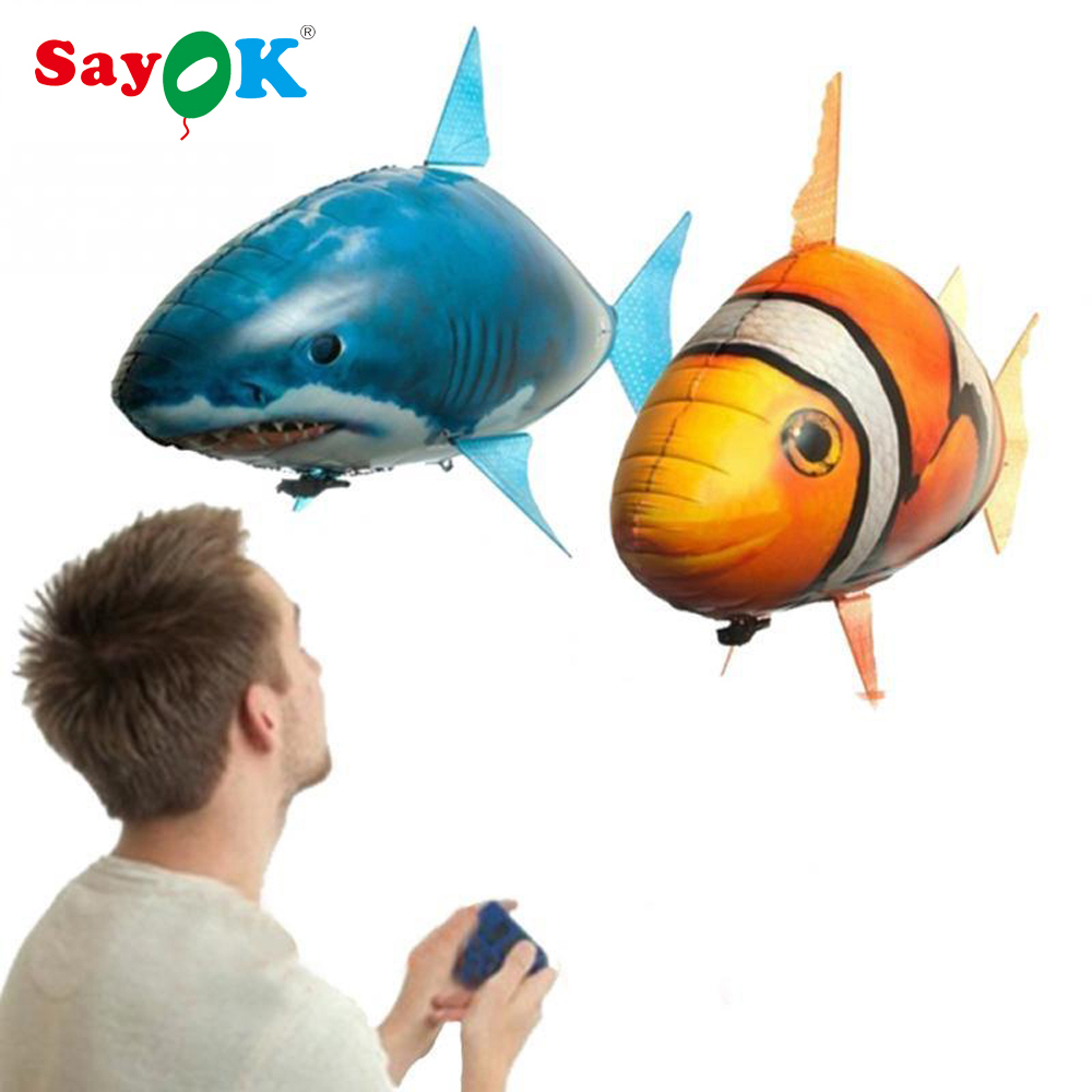 RC Air Fly Fish Shark Toys /Clown Fish Balloons Nemo Inflatable Toy with Helium Plane Toy Party for Childrens Day Gift