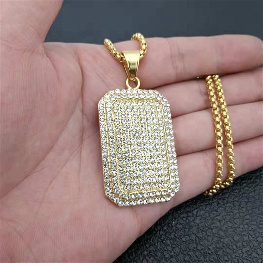 Men Army Style Gold/Silver Color Full Rhinestones Iced Out Charm Square Dog Tag Pendant Necklace Hip Hop Bling Bling Jewelry
