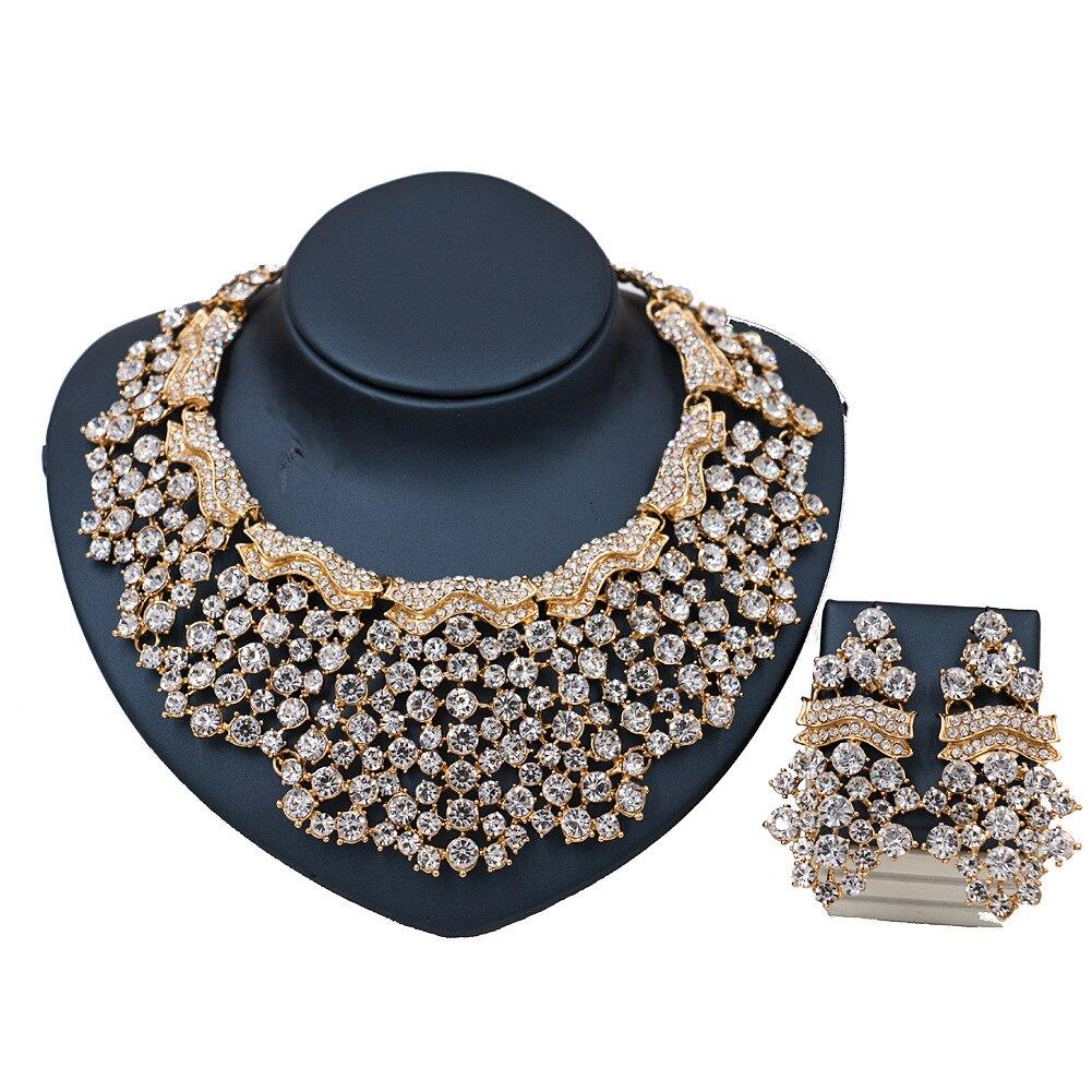 2017 nouveau collier de bijoux à la mode ensemble strass cristal verre costume ensemble de bijoux en or