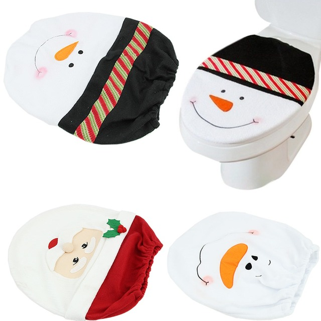 Hot Christmas Santa Toilet Claus Seat Cover Rug Bathroom Decoration Gifts