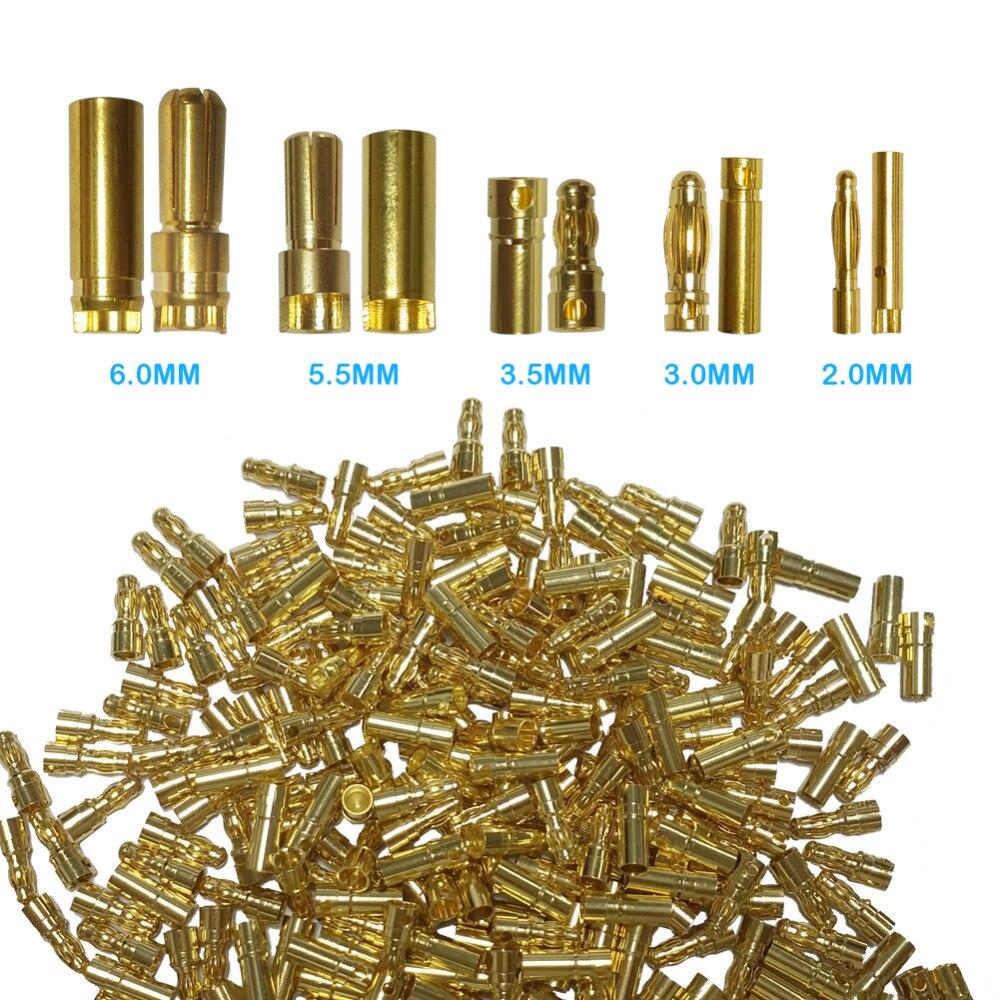 50 pares de tomada de conector de bala 2.0/3.0/3.5/4.0/5.5/6.0/6.5mm conector de bateria verde banhado a ouro estéreo plugue cabeça de banana