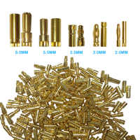 50 pairs  Bullet Connector Plug 2.0/3.0/3.5/4.0/5.5/6.0/6.5mm Battery Connector Green Gold Plated Stereo Plug Banana Head