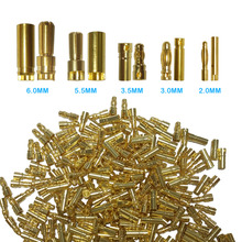 50 pairs  Bullet Connector Plug 2.0/3.0/3.5/4.0/5.5/6.0/6.5mm Battery Connector Green Gold Plated Stereo Plug Banana Head 20 pairs gold tone metal rc banana bullet plug connector male female 4mm