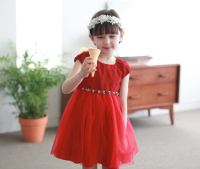 2015 Kids Clothes Dress Clothes Cotton Girl Dress Costume Party Dresses Kids Clothes Dress Red And