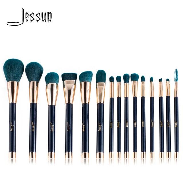 Jessup szczotki 15 sztuk pędzle do makijażu zestaw brush Powder Foundation cień do powiek Eyeliner wargi Contour Concealer rozmazywanie niebieski/ciemnozielony