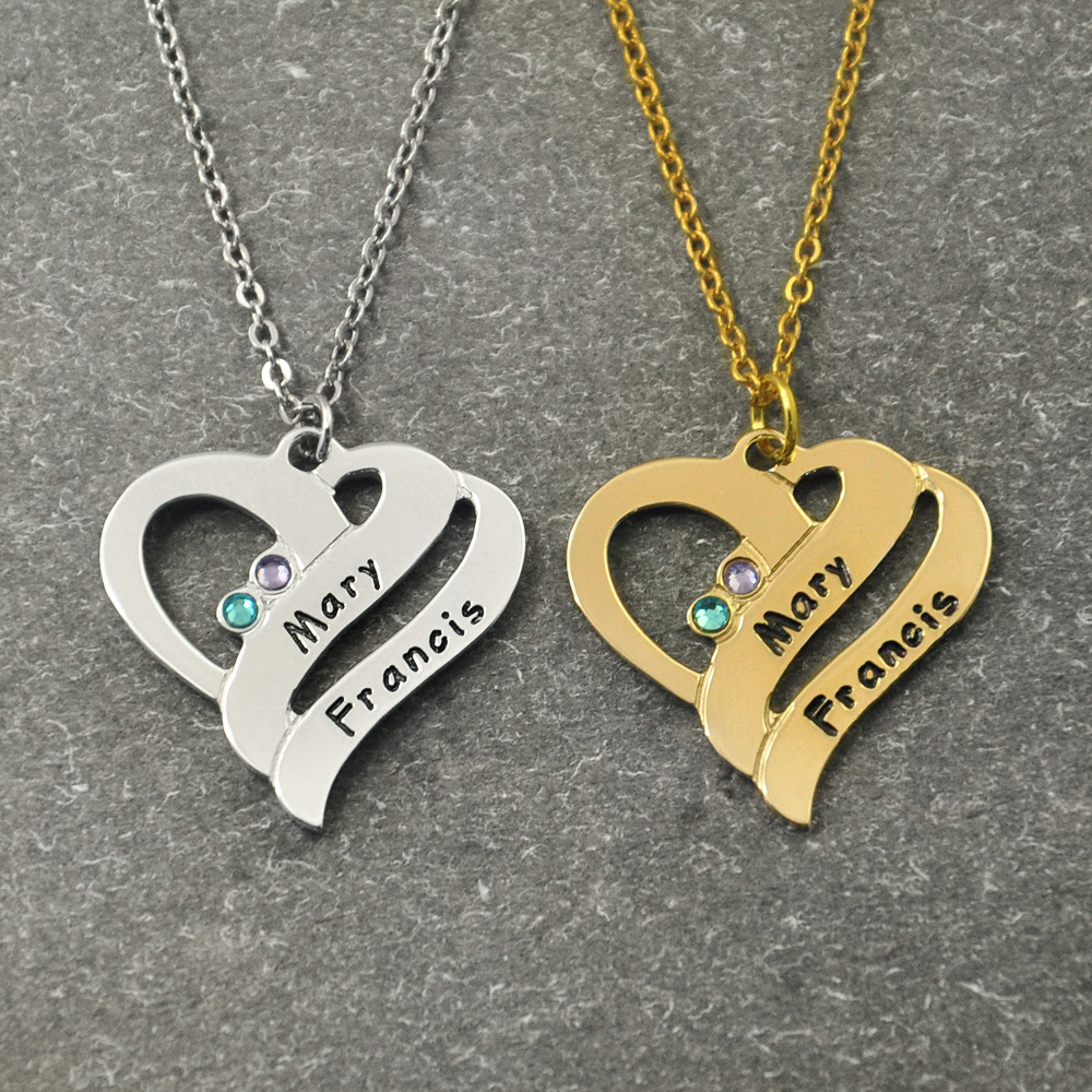 799933282fde Detalle Comentarios Preguntas sobre Collar de nombre de corazón  personalizado con piedra de nacimiento