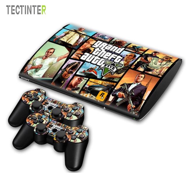 GTA V pour PS3 Surper slim 4000 Console vinyle peau autocollant couverture + 2 pièces contrôleur pour Sony PS 3 super mince 4000 contrôleur décalque