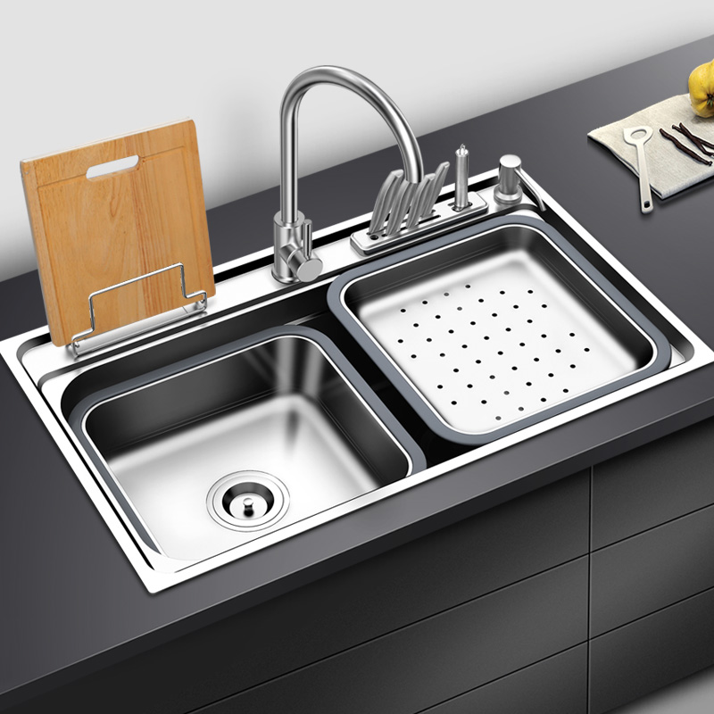 US $260.0 |Stainless steel 304 for one in one forming multi function basin  with knife holder single bowl kitchen sink with faucet 2019 news-in Kitchen  ...