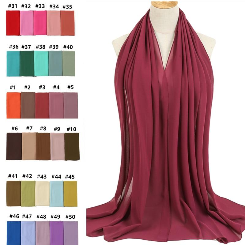 2020 Women Scarf Bubble Chiffon Scarf Silk Feeling Hijab Solid Color Shawls And Wraps Headband Muslim Hijab Scarfs Neck Foulard